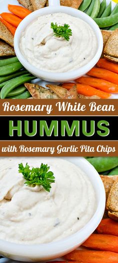 This recipe for Rosemary White Bean Hummus (with Rosemary Garlic Pita Chips) is a healthy white bean dip that makes a tasty snack or appetizer. This easy hummus is made in minutes and is a great potluck party dip for entertaining! White Bean Hummus, White Bean Dip, White Beans, Healthy Snack Options, Healthy Dips, Best Appetizers, Appetizer Recipes, Dip Recipes, Snack Recipes