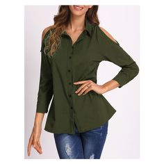 Army Green Open Shoulder Blouse ($13) ❤ liked on Polyvore featuring tops, blouses, olive blouse, open shoulder blouse, army green blouse, cold shoulder tops and green top