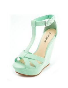 Velvet T-Strap Wedge Sandal: Charlotte Russe