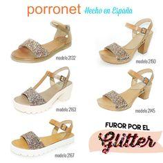 Plano, con plataforma o tacón... seas como seas hay un modelo Porronet glitter para ti ✨ - www.porronet.es #Porronet #glitter #plataformas #sandalias #maderas