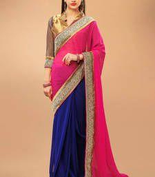 Pink and blue georgette saree with golden banarasi silk blouse piece
