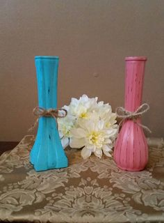 Check out this item in my Etsy shop https://www.etsy.com/listing/503770531/aqua-and-coral-bud-vases-painted-and