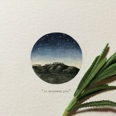 Day 356 : Signal hill; starry night.  #365postcardsforants #wdc624 #miniature #watercolour #starrynight #signalhill #trees #capetown #lovecapetown #painting (at Signal Hill)
