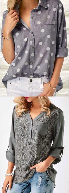 Polka Dot Print Grey Turndown Collar Shirt