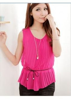 31f8be5ad88 Chiffon Pleated New arrival T-shirt with belt Scoop Neck