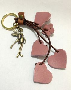 Pink Hearts Genuine Leather Key Chain for by LovelyHandmadeShop, $30.00