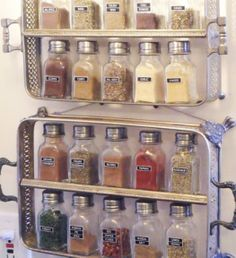Get an old silver plated server from the Thrift store, cut a piece of wood to fit inside it. I think it was epoxy'd or super glued in place. This is a very cool spice rack!