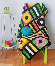 Ravelry: Licorice Allsorts Afghan pattern by Twinkie Chan put your woolly crochet skills to good use this summer and make this kitsch blanket for your retro home interior Motifs Afghans, Afghan Crochet Patterns, Crochet Squares, Crochet Afghans, Crochet Blankets, Granny Squares, Modern Crochet, Crochet Home, Easy Crochet