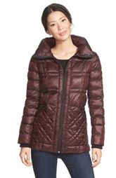 Bernardo Glossy Packable Mixed Quilted Jacket with Down & PrimaLoft® Fill