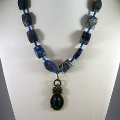 Blue Sodalite Gemstone Necklace Pendant Vintage Brass by clairecreations on Etsy