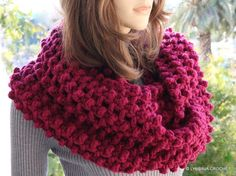 Hand Crochet Scarf - Raspberry Scarf #crochetcirclescarf by CrochetedByLyubava