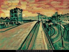 Gyula Batthyany - Bridge at the Railway Station Oil Painting Reproductions, 3 Arts, Urban Landscape, Green Backgrounds, New Artists, Locomotive, Art Oil, Lovers Art, Ocean