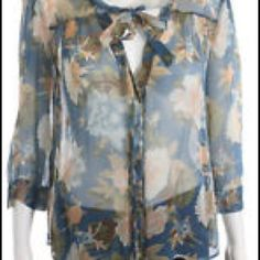 Joie floral button up top Blue floral top with neck tie. 100% silk. Boxy fit. Need to wear with a cami, very sheer. Joie Tops Button Down Shirts