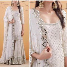 Pure Georgette Sequin Work Sharara Suit Source by indian Sharara Designs, Kurti Designs Party Wear, Indian Gowns Dresses, Pakistani Dresses, Pakistani Suits, Pakistani Bridal, Punjabi Suits, Indian Bridal, Anita Dongre