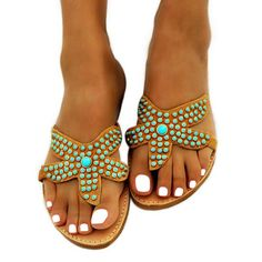 Asterias Turq - hot sale - only 1 available Greek Sandals, Flat Sandals, Shoes Sandals, Flats, Beach Shoes, Starfish, Hot, Beautiful, Style