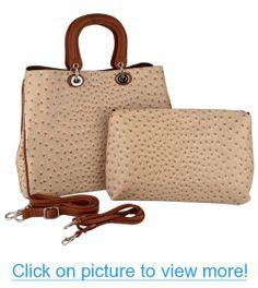 MG Collection FARAH 2 in 1 Ostrich Weekender Tote Handbag   Crossbody Bag