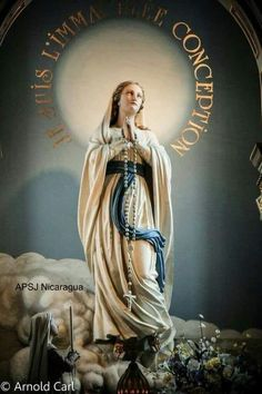 The Immaculate Conception. Virgin Mary Art, Virgin Mary Statue, Blessed Mother Mary, Blessed Virgin Mary, Religious Images, Religious Art, Immaculée Conception, Hail Holy Queen, Queen Of Heaven