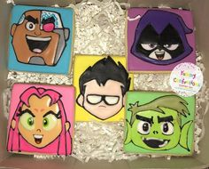 Teen Titans Go Cookies - 1 Dozen Cookies) by YummyConfectionsLLC on Etsy Beast Boy, 6th Birthday Parties, 9th Birthday, Birthday Ideas, Cake Designs For Boy, 5 Gifts, Teen Titans Go, Pokemon Cosplay, Birthday Cookies