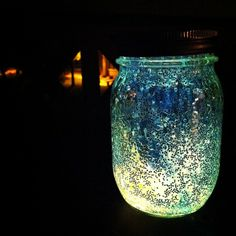 glowstick + glitter + mason jar...hang in the yard- I did this with two small glow sticks, it didn't work very well. GC