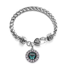 PCOS Awareness Circle Charm Braided Bracelet
