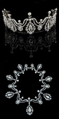 The Monson diamond tiara necklace, 1880-1900. Formerly the property of 9th Lady Monson, and at one point gracing the windows of Hancocks for the sum of £500,000