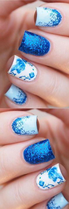 Deep blue floral nail decals/ Nail water stickers/ Rose nail water decals/ Nail decorations/ Nail art supplies/ Floral nails    #nailart #ad #naildesigns