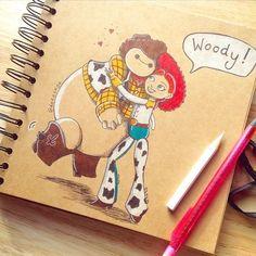 Baymax [as Woody] & Jessie (Drawing by DeeeSkye @Tumblr) #BigHero6 #ToyStory2