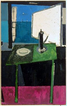 Green Table with Coffee Pot in front of Sea Window, 1953 by Patrick Heron (British 1920-1999)