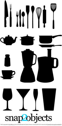 Free Vector Kitchen Appliances, spon, fork, cups, blenders, knifes a more silhouettes for your projects.