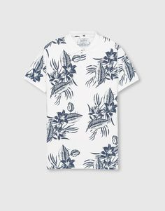 Pull&Bear - hombre - camisetas - polo estampado flores - blanco - 09202505-I2016