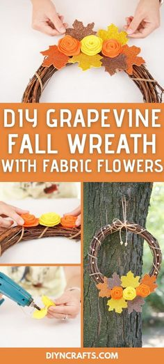This rustic fall grapevine wreath is a beautiful addition to your porch! Fabric flowers and sparkling leaves are perfect in fall colors! This rustic farmhouse style wreath is a great addition to your mantle or front porch. #Wreath #GrapevienWreath #FallWreath #FrontPorch #FallDecor Felt Flowers, Diy Flowers, Fabric Flowers, Rustic Farmhouse, Farmhouse Style, Crafts To Make, Easy Crafts, Flower Svg, Wreath Forms