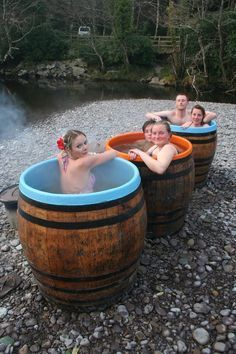 Wood Fired Whiskey Barrel Hot Tubs