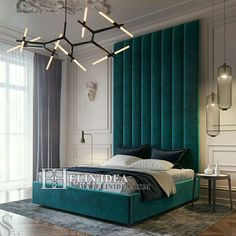 Luxury modern style teal bedroom decor with teal velvet extra tall headboard, oversized headboard, extended headboard Teal Bedroom, Country Bedroom Decor, Luxurious Bedrooms, Cheap Home Decor, Home Decor, Teal Bedroom Decor, Bedroom Decor, Simple Bedroom, Bedroom Headboard