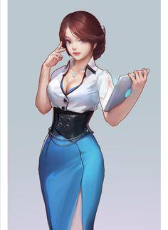 ArtStation - secretary guide NPC 游戏指引小姐姐, 背光的 酝酿