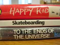 Happy Kid Skateboarding by alsc.ala.org #Book_Spine_Poetry #Book_Spine_Blog #alsc_ala_org