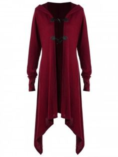 Plus Size Horn Button Hooded Coat