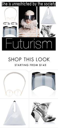 """futurism"" by blaspheme ❤ liked on Polyvore featuring Alexander McQueen, Chanel, MM6 Maison Margiela, Abcense, Uzerai Edits, futuristic and Futurism"