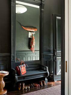 Entryway with a big mirror