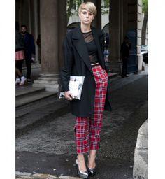 Le pantalon à carreaux, look de la Fashion Week printemps été 2014 de Londres - Cosmopolitan.fr