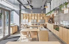 Gallery of Junzi Kitchen Columbia University / Xuhui Zhang - 7 Cafeteria Design, Bar Interior, Restaurant Interior Design, Cafe Floor Plan, Ceramic Cafe, Minimal Kitchen, Cafe Restaurant, Modern Restaurant, Cafe Bar