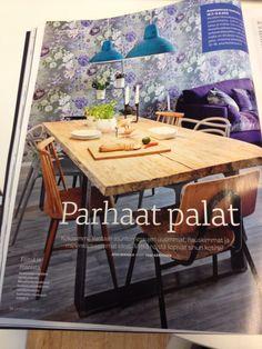 Pinnatuoli, idea keittiön pöytään, hyvä kontrasti seinän tapettiin