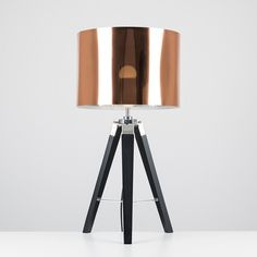 Clipper Black Tripod Table Lamp with Copper Shade