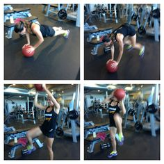 Elbows to knees! Med ball press up with standing side crunches. Fitness motivation