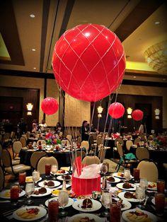 Hot Air Balloon centerpiece http://www.idealpartydecorators.com