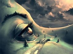 Cyril Rolando's digital paintings ((Face as a land, very creative, id like to learn to morph faces as a background)):