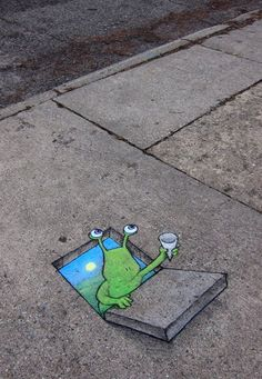 david+zinn+sidewalk+art | 70+ Sidewalk Chalk Art Of Sluggo By David Zinn | Amazing Street Art ...