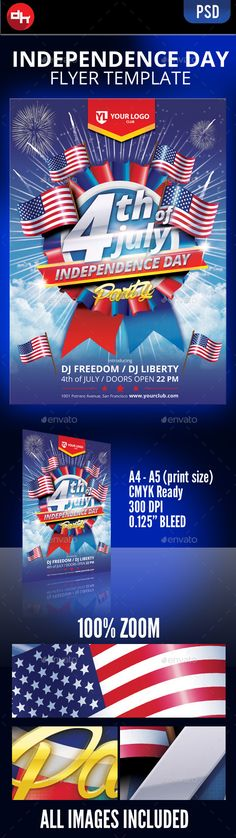 Independence Day - July 4 Vol 3 Flyer Template Flyer template - independence day flyer
