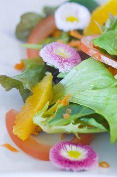 Salad with daisies photo by Cornelia Kahr