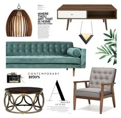 """""""Clean Spaces: Mid-Century Modern"""" by bklana ❤ liked on Polyvore featuring interior, interiors, interior design, home, home decor, interior decorating, Baxton Studio, modern, Home and decor"""