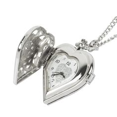 Fashion Silver Heart Shaped Lovely Hollow Elegant Quartz Pocket Watch Necklace Pendant for Women Ladies girl Birthday Gift. Clock Necklace, Pocket Watch Necklace, Pendant Necklace, Quartz Pocket Watch, Silver Pocket Watch, Birthday Gifts For Girls, Girl Birthday, Fashion Vintage, Glass Pendants